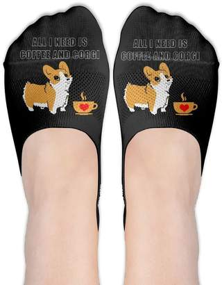 Corgi ZMvise All I Need Is Coffee And Socks Boat Low Cut Thin No Show Deodorant Sock Non Slip For Women Girls