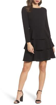 Eliza J Ruffle Fit & Flare Dress (Regular & Petite)