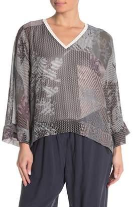 Go Silk Go by V-Neck Dolman Sleeve Silk Blouse