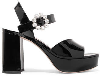 Miu Miu Crystal-embellished Patent-leather Platform Sandals - Black