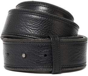 Brunello Cucinelli Bead-Embellished Pebbled-Leather Belt