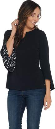Susan Graver Liquid Knit Top Bell Sleeve with Polka Dot Lining