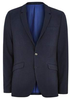 Topman Mens Blue Gingham Check Ultra Skinny Suit Jacket