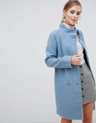 Oasis funnel neck coat in blue