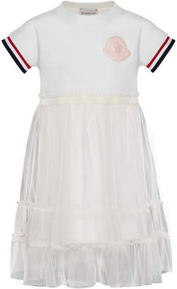 Moncler Short-Sleeve Tulle Overlay Dress, Size 8-14