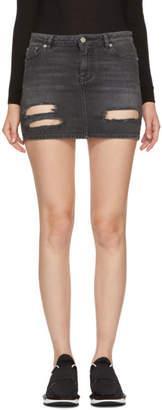 Givenchy Grey Destroyed Denim Miniskirt