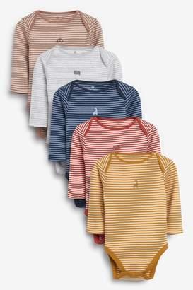 Next Boys 5 Pack Stripe Long Sleeve Bodysuits (0mths-2yrs) - Yellow