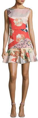 Josie Natori Sleeveless Patchwork-Print Ruffle-Hem Cocktail Minidress