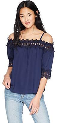 Amy Byer A. Byer Junior's Off The Shoulder Top with Crochet Trim