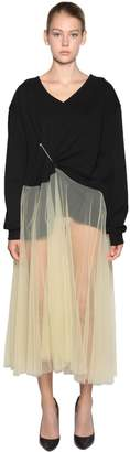 Act N°1 COTTON SWEATER W/ TULLE SKIRT DRESS