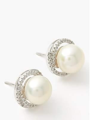 Lido Large Pearl Cubic Zirconia Twist Stud Earrings, White