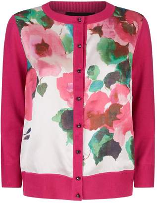 St. John Blossom Wool-Silk Floral Cardigan