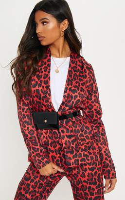 PrettyLittleThing Red Leopard Print Blazer