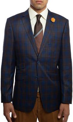 English Laundry Men's Slim-Fit Elbow-Patch Plaid Sport Jacket, Navy