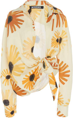 Jacquemus Collared Tie-Front Cropped Top Size: 34