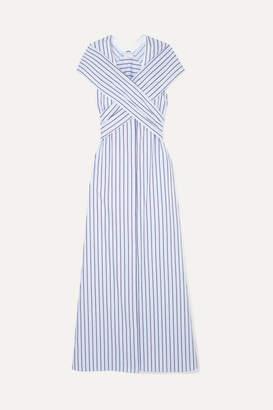 Rosetta Getty Convertible Striped Cotton-poplin Maxi Dress - Blue