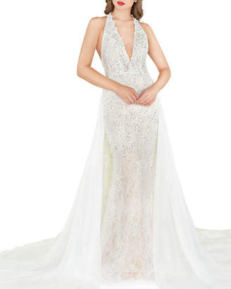 Mac Duggal Cape-Back Lace Halter Gown