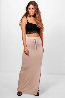 boohoo Petite Lola Split Side Jersey Maxi Skirt
