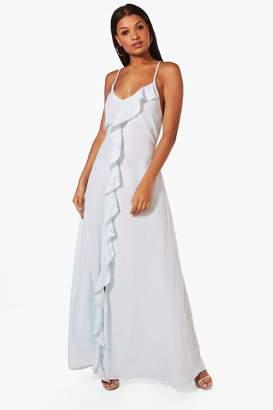 boohoo Jenny Frill Detail Strappy Maxi Dress $52 thestylecure.com