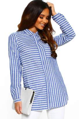 Pink Boutique Sweet Stripes Blue Striped Oversized Shirt