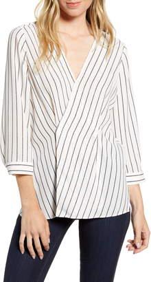 Chelsea28 Stripe Asymmetrical Blouse