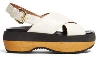 Marni Cross Strap Leather Flatform Sandals - Womens - Cream