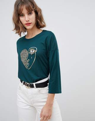 Stradivarius face print & embellished 3/4 sleeve top