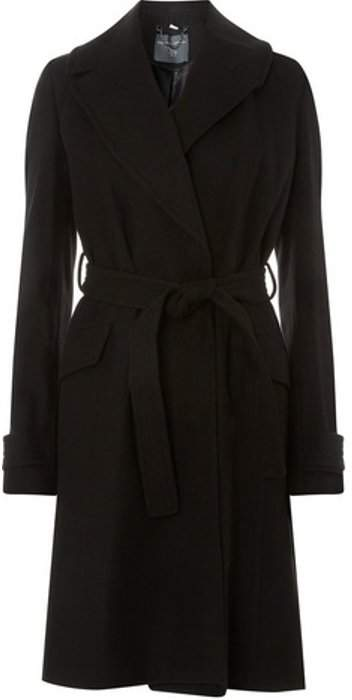 Womens **Tall Black Wrap Belted Coat