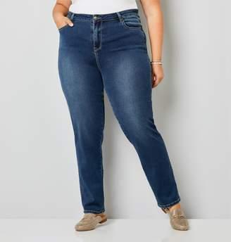 Avenue Plus Size Medium Wash Butter Denim Straight Leg Jean-Average Length