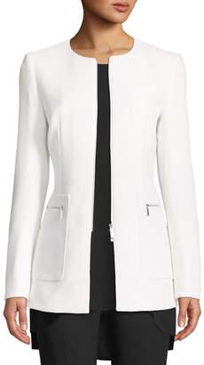 Lafayette 148 New York Landon Nouveau Crepe Wool Zip Jacket