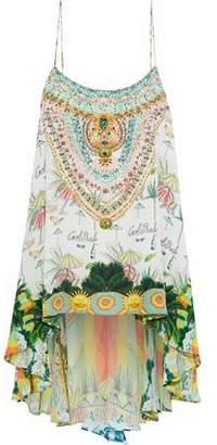 Camilla Miranda's Diary Crystal-Embellished Printed Silk Top