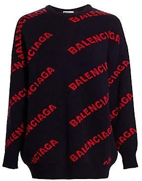 0fc8263a6 Balenciaga Women s Intarsia Knit Logo Sweater