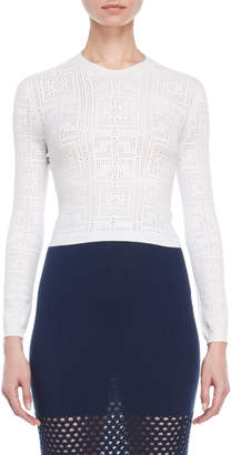 Atos Lombardini Pointelle Cropped Knit Sweater