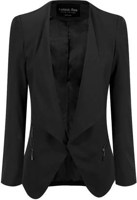 LookbookStore Women's Open Front Side Zip Draped Padded Asymmetric Suit Blazer