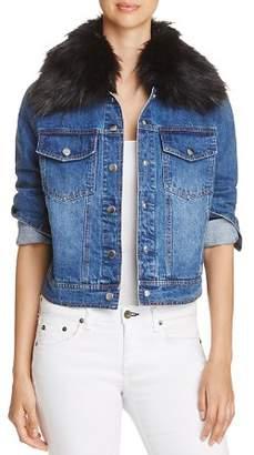 Bagatelle Faux-Fur Collar Denim Jacket