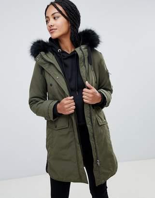 Esprit Faux Fur Hood Contrast Detail Parka