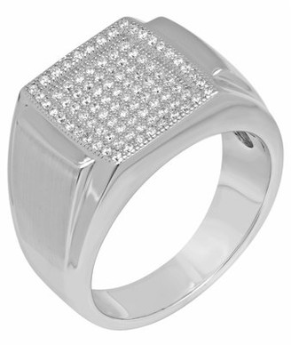 UNBRANDED Men's Sterling Silver Cubic Zirconia Wedding Band - Mens Ring Size 10.5