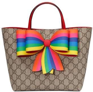 Gucci Children's GG Supreme rainbow bow tote