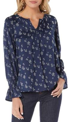 Michael Stars Flocked Print Peasant Blouse