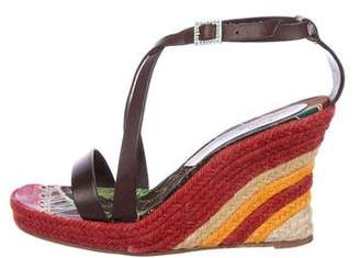 John Galliano Leather Espadrille Wedges