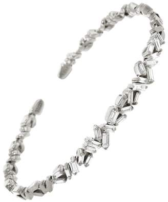 Suzanne Kalan Zig Zag White Diamond Firework Bangle Bracelet - White Gold