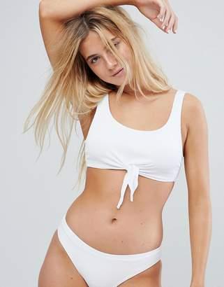 New Look Tie Front Rib Crop Bikini Top