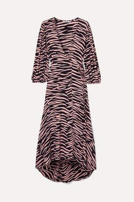 Ganni Zebra-print Crepe Wrap Dress - Pink