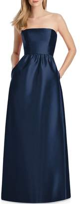 Lela Rose Bridesmaid Strapless Sateen Gown