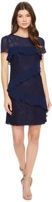 Donna Morgan Short Sleeve Chiffon and Lace Ruffle Shift Women's Dress