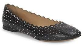Chloé Studded Scallop Leather Ballet Flats