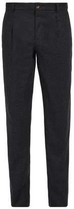 De Bonne Facture - Slim Leg Wool Flannel Trousers - Mens - Grey