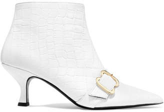 Erdem Sienna Croc-effect Glossed-leather Ankle Boots - White