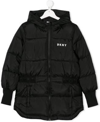 DKNY TEEN logo print padded coat