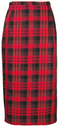 No.21 tartan midi pencil skirt